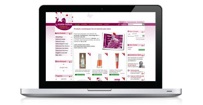 Site ecommerce de cosmétiques bio pas chers : Marie Nature